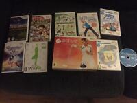 Wii console with 9 games and accessories