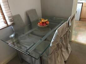 Glass Extendable Dining Table (six seater)