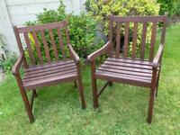 Two Wooden Garden Patio Chairs