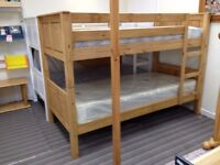 Single Solid Pine Bunk bed Frame, Corona Style, Waxed pine finish, includes mattresses - £250