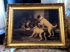 Beautiful framed Fiehl reproduction of Lucy Leavers painting of two terriers and a cat.