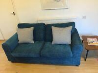 2 Seater sofa and arm chair for sale 1 year old teal blue £150