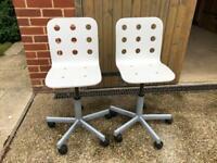 2 x IKEA children's desk chairs (white)