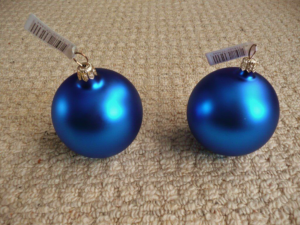 2 Metallic Blue Baubles Christmas Tree Decorations Xmas