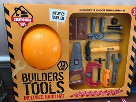 Kids builder hat and tools set