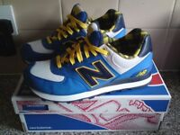 Retro Mens New Balance Classics ML574 - Camping Collection Blue Yellow Shoes
