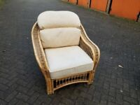 Wicker Arm Chair with Cushions - Natural Varnish Colour