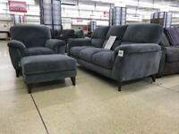 Natuzzi editions charcoal grey velvet fabric 3 seater sofa & arm chair designer