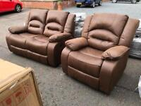 New/Ex-display**Reclining 2+1 Brown fabric suite BARGAIN