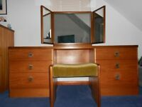 Dressing table with triple mirror and stool