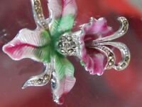 Enamel and rhinestone broach in suffragette colours