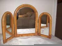 Triple Dressing table mirror with bamboo frame