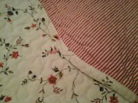 Shabby chic vintage style ditsy floral quilted double bedspread