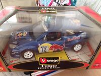 1:18 Ford Focus Rally in Blue by Burago, Car Collection, Rare, Red Bull