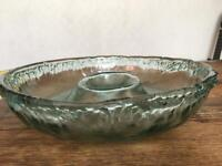 Large Recycled glass chip and dip glass bowl