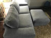 Grey Ikea Sofa and foot stool