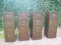 Selection of very old solid metal storage/filing cabinets
