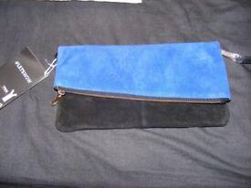 Beautiful Brand New Suede Clutch Bag - Blue/Black by Esmara, Heidi Klum