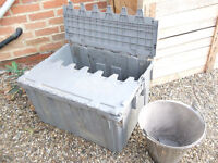 Heavy Duty Plastic Crate with folding lid . About 80 ltrs