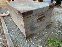 Large vintage wooden trunk