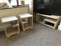 TV STAND AND 2x SIDE TABLES
