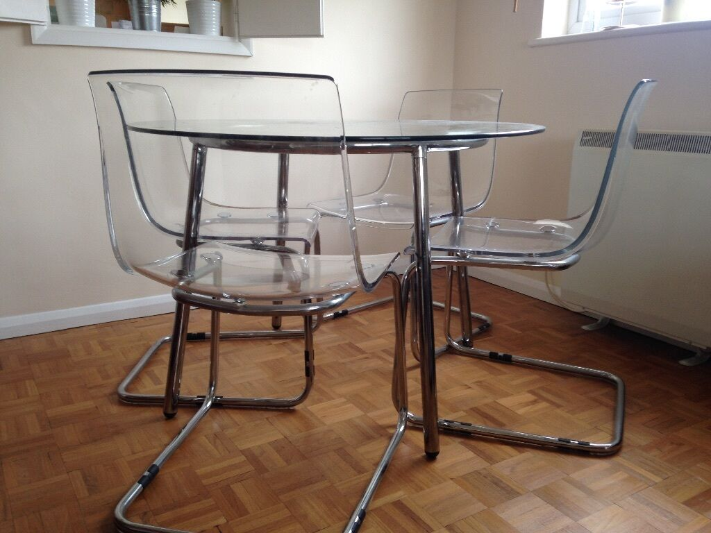 Ikea salmi glass table and ikea tobias chairs x4 in for Ikea glass table tops