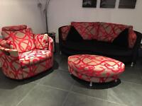Black and red 4 piece sofa settee suite