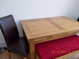 Rustic Oak Dining Set with x 2 benches and x 2 upright chairs