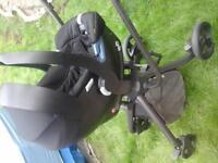 mamas & papas mylo pram + car seat +extras almost new black