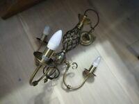Brass effect ceiling light or lights / chandelier or chandeliers