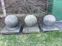 Three Sandstone Ball and Base Pier Caps
