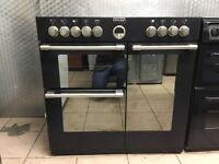 Stove range electric cooker 90 cm black ceramic double oven 3 months warranty!!!!!!