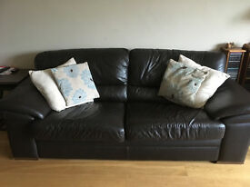 Leather 3 seater sofa and 2 chairs, good condition