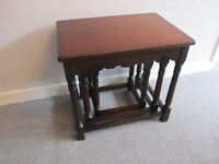 Nest of 3 tables, solid dark oak, classic antique design. very good condition