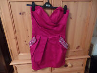 Attractive Lipsy fuscia pink strapless dress - size 12