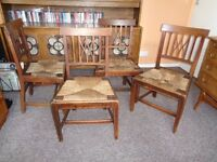 "Antique Oak & Rush Seat ""Country""Dining Chairs"
