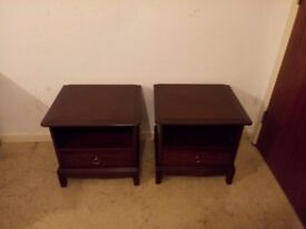 Nice Matching Pair Of Stag Bedside Tables Mahogany Side End Cabinets Lamp Table