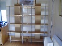 Bookshelves - 3 units each 160cmHx80cmWx24cmD.Siver legs beech shelves