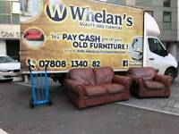 heavy heavy 2 seater sofa and armchair in tan leather