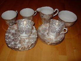 Pretty White / Gold Vale Bone China Tea Set, cups, saucers, plates, milk jug, sugar