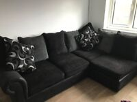 Corner sofa with 3 seater and puffy