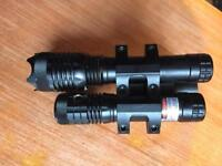Focusable hunting torch and laser with gun bag
