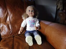 """Lifesize toddler doll (Chad Valley - Molly & Friends) """"LDN GRL"""" T shirt"""