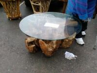 Large Glass Top Tree Root Coffee Table