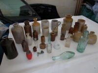 old earthenware, ink pots, bottles, jars, job lot REDUCED PRICE