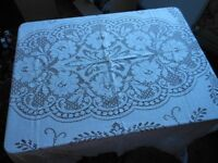 Traditional vintage large white crocheted look lacy tablecloth, Retro/ period setting/ wedding