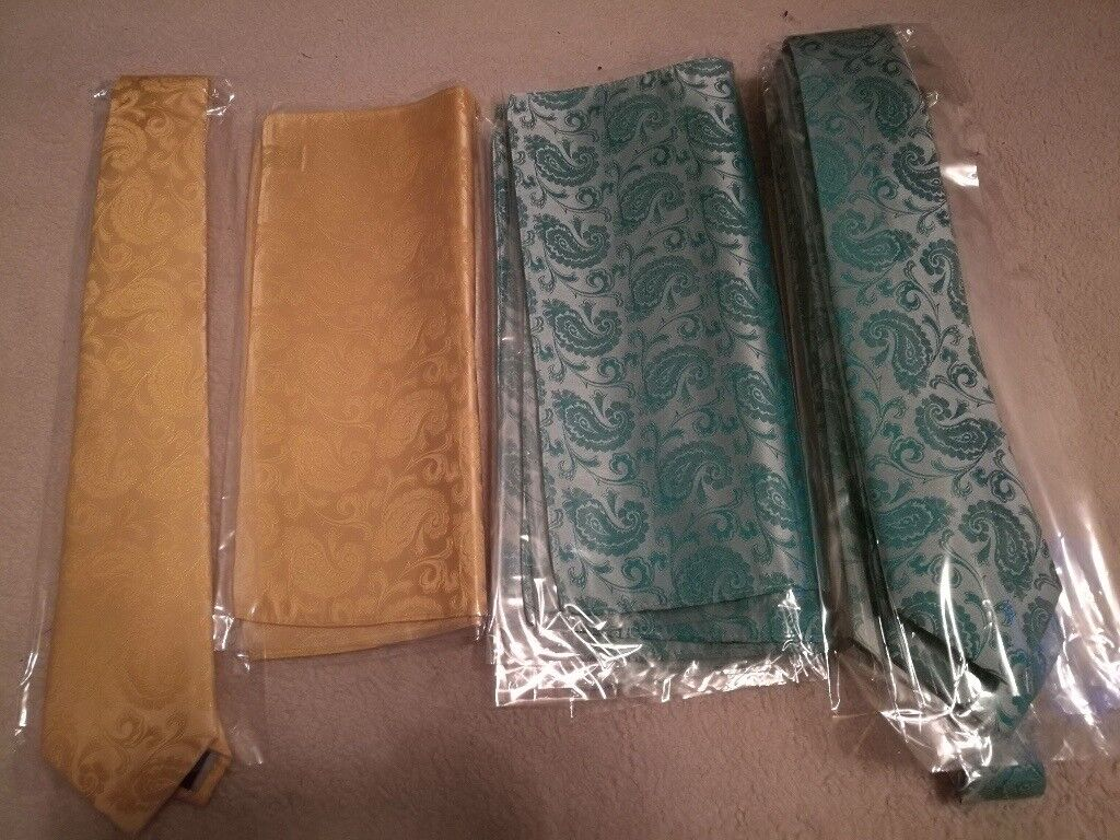 Wedding Ties And Pocket Squares X5 All Brand New Unopened