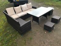 New Rattan furniture set table L shape sofa and stools