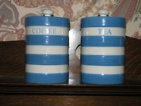 Pair Of Blue Hooped Tea and Coffee Containers Weymouth