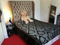 crushed velvet double high back bed with mattress